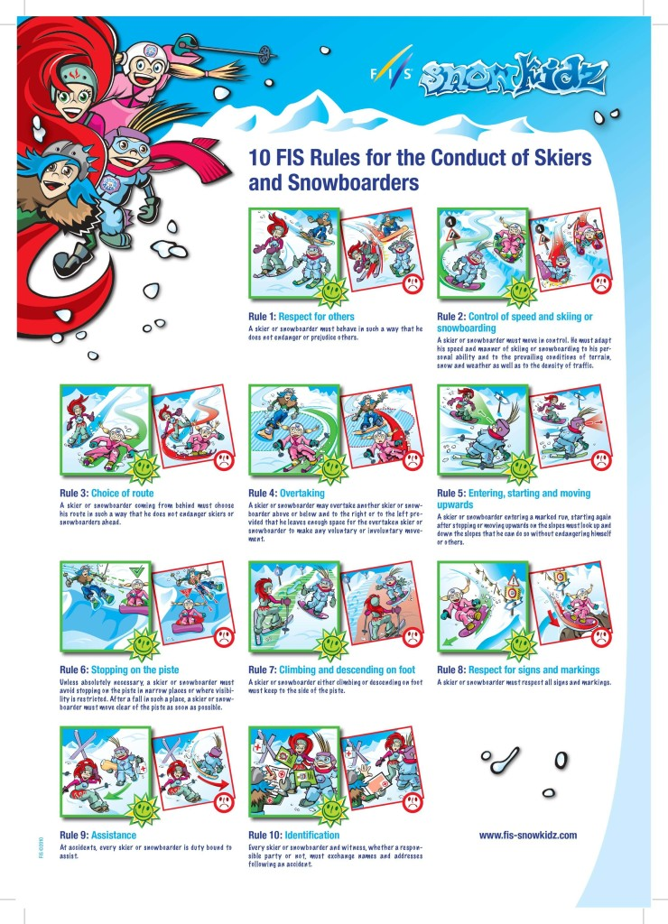 FIS 10 Rules for skiing and snowboarding